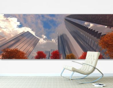 Autumn skyscrapers against the background of clouds, modern high-rise buildings in the fall, panorama of skyscrapers from below, sunset in the skyscrapers, 3D rendering