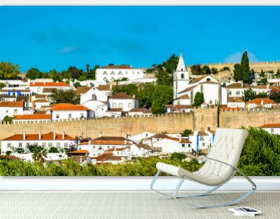 Santa Maria Church and city walls of Obidos, a town in the Oeste region of Portugal