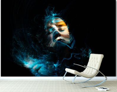 light painting portrait, new art direction, long exposure , light drawing at long exposure