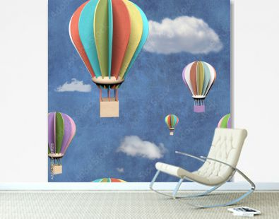Seamless pattern with 3d air balloons in blue sky