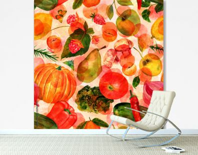 Vegan food seamles watercolor pattern with butterflies and dots