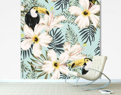 Toucans, white hibiscus flowers, palm leaves, light blue background. Vector floral seamless pattern. Tropical illustration. Exotic plants, birds. Summer beach design. Paradise nature