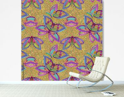 Seamless australian pattern with  butterflies out of small dots. National   ornament -  bright print for design. Vector background.