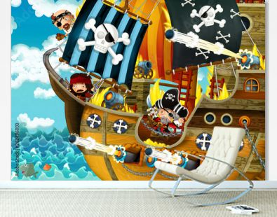 cartoon scene with pirate ship sailing through the seas with scary pirates - deck is burning during battle - illustration for children