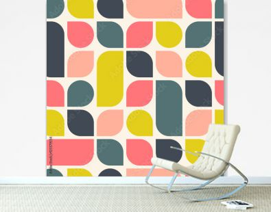 Abstract retro geometric background. Bright seamless pattern. Vector illustration.