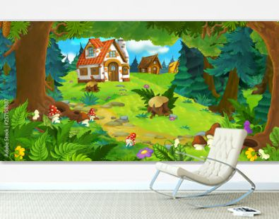 cartoon scene with beautiful rural brick house in the forest on the meadow - illustration for children