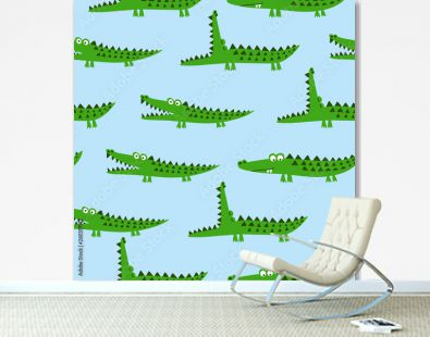 Crocodile pattern design with several alligators - funny hand drawn doodle, seamless pattern. Lettering poster or t-shirt textile graphic design. / wallpaper, wrapping paper, background.