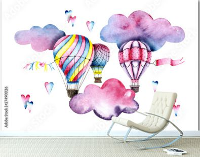 Watercolor colorful air balloons with clouds and hearts. Colorful illustration isolated on white. Hand painted airships perfect for children's wallpaper, fabric textile, interior design, card making