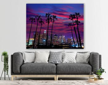 Downtown LA night Los Angeles sunset skyline California