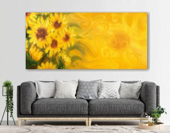 Sunny Sunflowers with sun and ornaments. Oil painting on canvas.