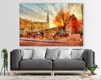 Amsterdam canal at evening impressionistic painting