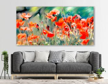 art watercolor poppies paint background