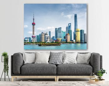 View of Pudong skyline (Lujiazui) in Shanghai, China