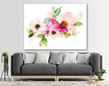 Flowers watercolor illustration. Manual composition.