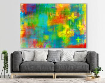 Abstract artistic christian religious modern background in bright colors, with crosses