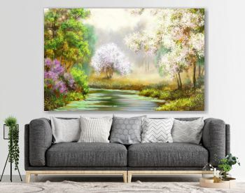Spring,tree,river, paintings landscape