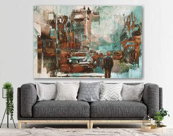 man walking in city street with abstract painting texture, illustration art