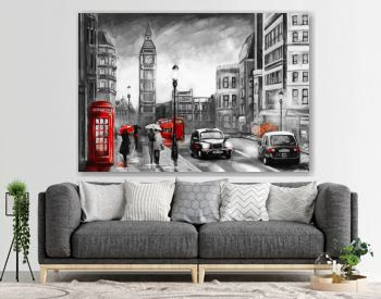 oil painting on canvas, street view of london. Artwork. Big ben. couple and red umbrella, bus and road, telephone. Black car - taxi. England