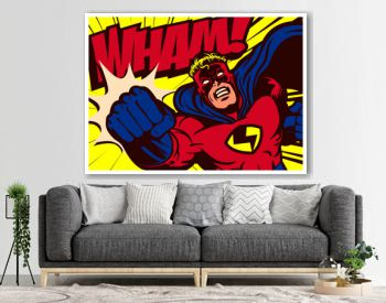 Pop art comics style superhero punching vector poster design wall decoration illustration