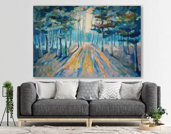 Painting beautiful winter forest. Sunlight in the forest Painting Acrylic and Full spectrum on Canvas and Cardboard