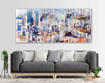 Watercolor painting landscape colorful of city