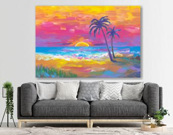 Palms beach, sunset, sand, ocean. Seaside landscape. Abstract oil painting