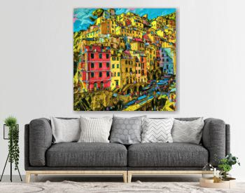 View at colorful houses in Cinque Terre, Italy. Summer Italian resort city. Big size oil painting fine art. Modern impressionism drawn artwork. Creative artistic print for canvas, poster or paper.