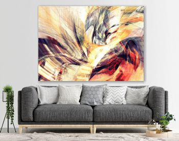 Solar energy. Abstract bright color painting texture. Artistic summer background with lighting effect. Modern futuristic warm pattern. Fractal artwork for creative graphic design