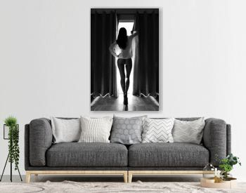 Silhouette of beautiful slim woman against the window