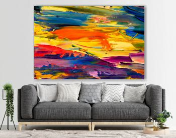 Yellow orange red abstract painting fragment modern impressionism illustration. wallpaper with palette knife marks. Oil on canvas texture. abstract background. Close-up view artwork, fine art