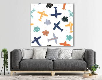 Childish seamless pattern with planes and clouds. Cute kids print. Vector hand drawn illustration.