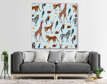 Seamless pattern with wild animals such as zebra, parrot, toucan, monkey, giraffe and antilope.
