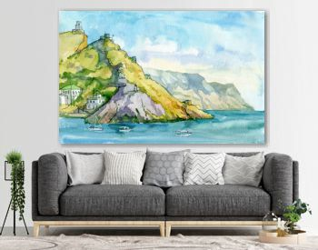Landscape. Seascape. Watercolor. Sea, rocks, mountains, port, ships. Balaclava, Sevastopol, Crimea. Travels. Tourism.