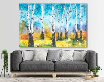 Russian forest landscape with beautiful birches in a clearing. Watercolor illustration