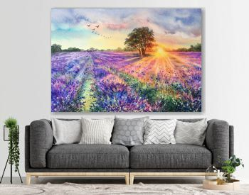 Watercolor lavender field. Sunset lavender field. Violet background. France Provence. Spring summer postcard banner. Fragrant flowers. Aroma