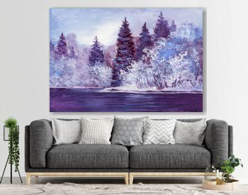 Original oil painting of a winter landscape. Christmas forest with river