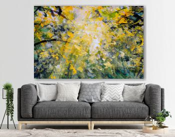 Contemporery modern landscape oil painting impressionism palette knife art Bright sun in the forest nature