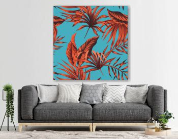 Tropical vintage red palm leaves floral seamless pattern blue background. Exotic jungle wallpaper.
