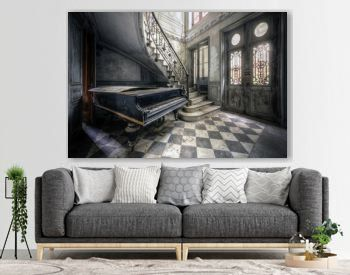 Piano in abandoned small castle in France