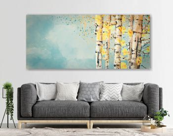 Autumn, birch trees. Watercolor background