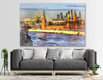 Cityscape with Kremlin and Moskva river colorful painting looks like picture