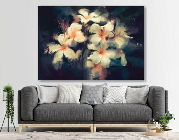 painting showing beautiful white flowers in dark background