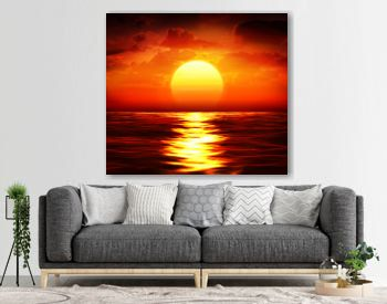 big sunset over sea - summer theme