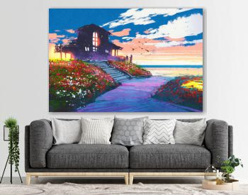 painting of seascape with beach house and colorful flowers at background