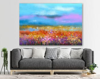 Abstract colorful oil painting landscape background. Semi abstract image of wildflower and field. Yellow and red wildflowers at meadow with blue sky. Spring, summer season nature background