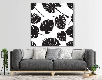 Seamless background with silhouette tropical monstera leaves. Black isolated on white background