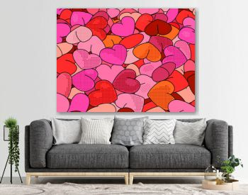 Hearts background in pop art style. Retro holiday backdrop for Valentine Day.