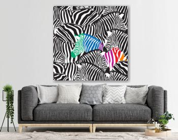 Black and colorful zebra seamless pattern.  Wild animal texture. Striped black and white. design trendy fabric texture, vector illustration.