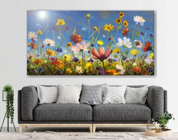 Oil painting of flowers, beautiful floral blooming field artwork on canvas. Wildflowers. Modern Impressionism Multicolored bright summer flower.