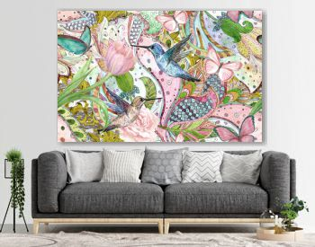 fashion seamless texture with ethnic floral ornament and hummingbirds. watercolor painting